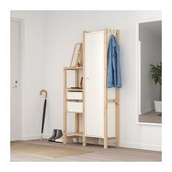 IVAR, 2 section shelving unit w/cabinet, pine, white