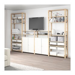 IVAR 4 sections/shelves/cabinet, pine, white