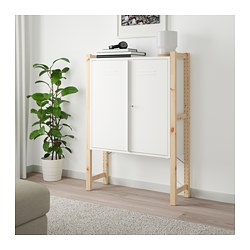 IVAR cabinet with doors, pine, white