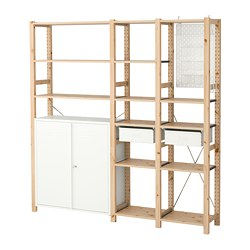 IVAR / SKÅDIS 3 sections/armoire/tablettes, pin, blanc