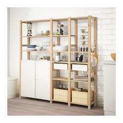 IVAR / SKÅDIS 3 sections/cabinet/shelves, pine, white