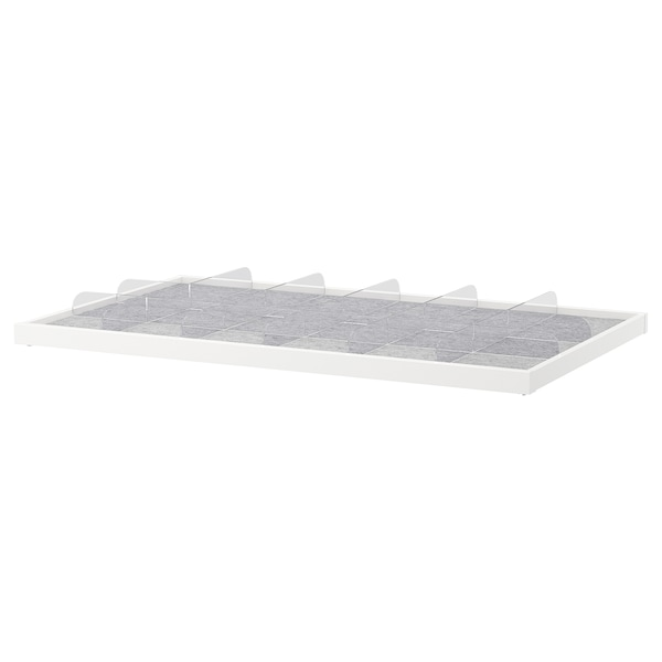 Pull-out tray with divider KOMPLEMENT white, transparent