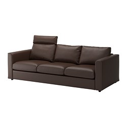 VIMLE 3-seat sofa, with headrest, Farsta dark brown