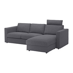 VIMLE 3-seat sofa, with chaise longue with headrest, Gunnared medium grey