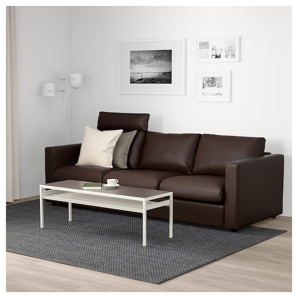 vimle 3er sofa mit nackenkissen farsta dunkelbraun ikea. Black Bedroom Furniture Sets. Home Design Ideas