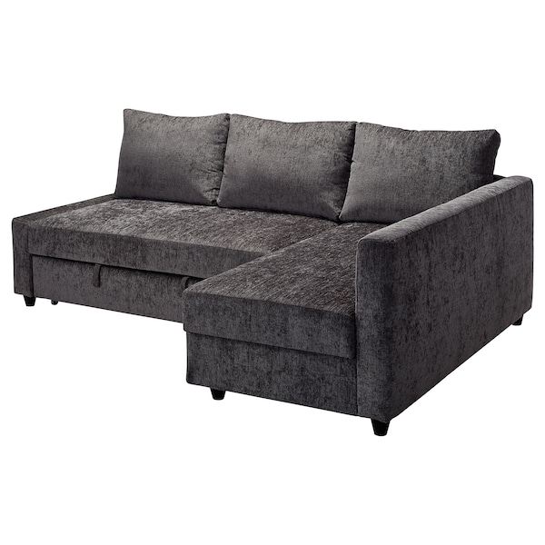 Corner sofa-bed with storage FRIHETEN dark grey