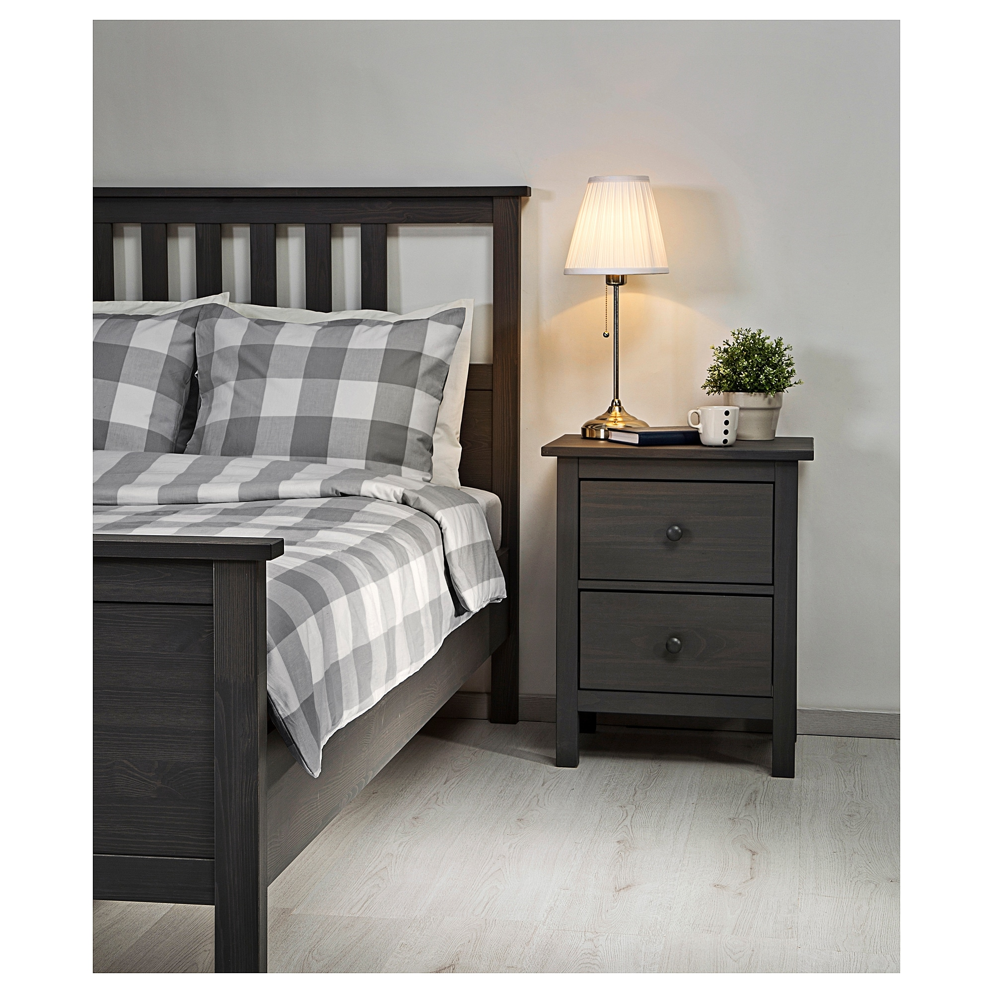 hemnes bed frame queen black brown ikea