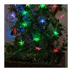 STRÅLA LED lighting chain with 24 lights, outdoor, flashing star