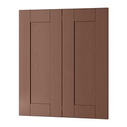 GRIMSLÖV 2-p door/corner base cabinet set, brown