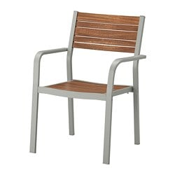 SJÄLLAND chair with armrests, outdoor, light grey, light brown