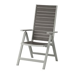 SJÄLLAND reclining chair, outdoor, light grey foldable, dark grey