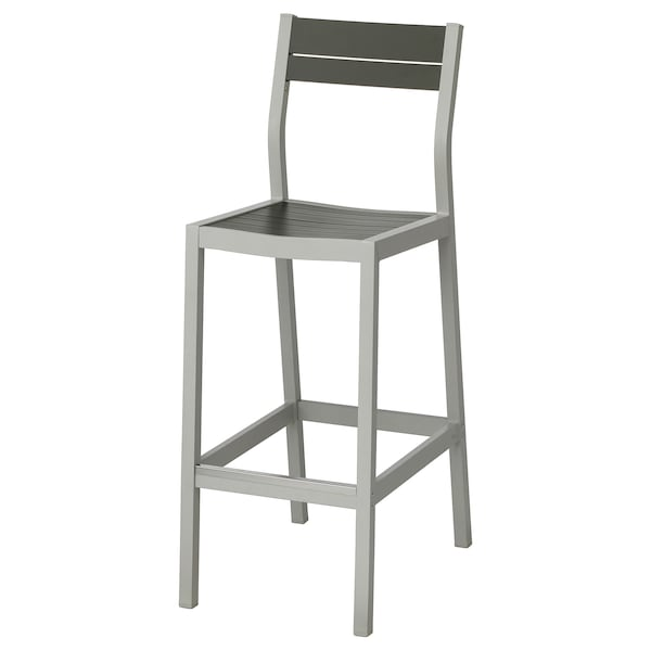 Tabouret A Vis Ikea.Bar Stool With Backrest Outdoor Sjalland Light Grey Dark Grey