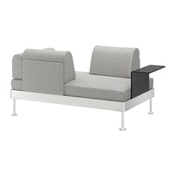 DELAKTIG 2-seat sofa with side table, Tallmyra white/black