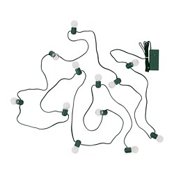STRÅLA LED lighting chain with 12 bulbs, battery-operated green