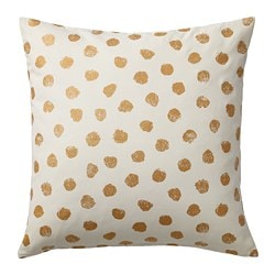 SKÄGGÖRT cushion cover, white/gold color