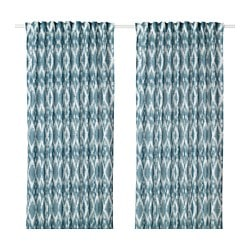 BLALILJA Curtains 1 Pair White Blue