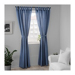 Lenda Curtains With Tie Backs 1 Pair Bright Blue