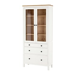 HEMNES glass-door cabinet with 3 drawers, white stain, light brown