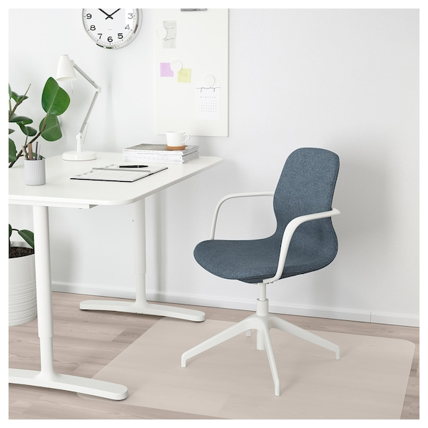 Conference Chair With Armrests Langfjall Gunnared Blue White
