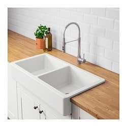 Havsen A Front Double Bowl Sink White