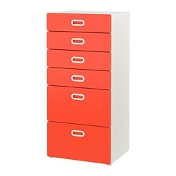 STUVA / FRITIDS, 6-drawer chest, white, red