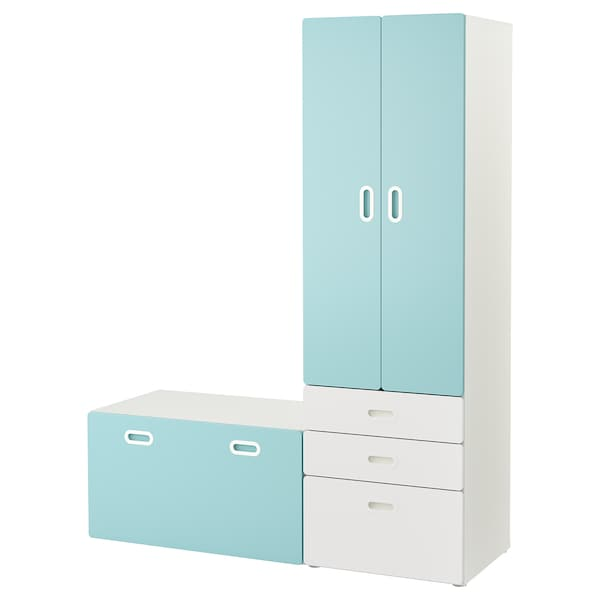 stuva fritids wardrobe with storage bench white light blue ikea. Black Bedroom Furniture Sets. Home Design Ideas