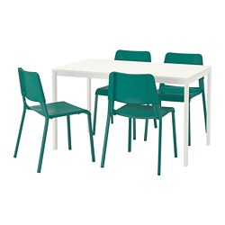 MELLTORP /  TEODORES table and 4 chairs, white, green