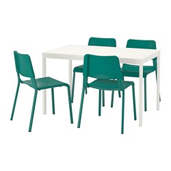 VANGSTA /  TEODORES table and 4 chairs, white, green