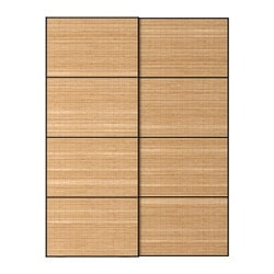 FJELLHAMAR pair of sliding doors, dark bamboo