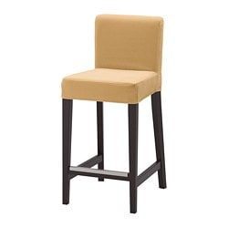 HENRIKSDAL, Bar stool with backrest, brown-black, Djuparp yellow-beige