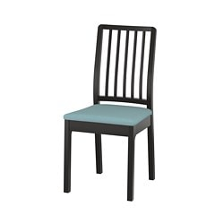 EKEDALEN chair, brown-black, Orrsta light blue