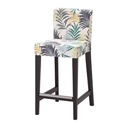 HENRIKSDAL bar stool with backrest, brown-black, Gillhov multicolor
