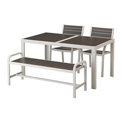 SJÄLLAND table, 2 armchairs + bench, outdoor, dark gray