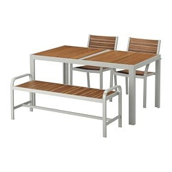 SJÄLLAND table, 2 chairs and bench, outdoor, light brown, light gray