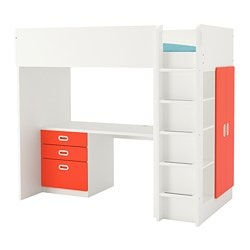 STUVA /  FRITIDS loft bed combo w 3 drawers/2 doors, white, red