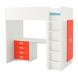 STUVA /  FRITIDS loft bed with 4 drawers/2 doors, white, red