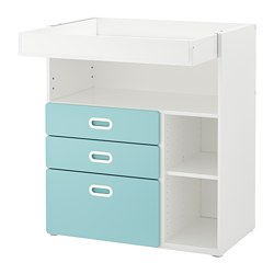 STUVA /  FRITIDS changing table with drawers, white, light blue