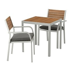 SJÄLLAND table+2 armchairs, outdoor, light brown, Frösön/Duvholmen dark gray