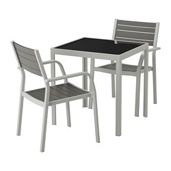 SJÄLLAND table+2 armchairs, outdoor, glass gray, light gray