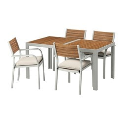 SJÄLLAND Table+4 chairs w armrests, outdoor