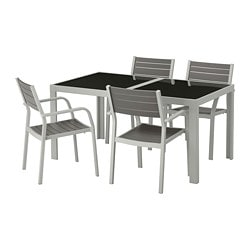 SJÄLLAND table and 4 armchairs, outdoor, glass gray, light gray