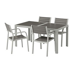 SJÄLLAND table and 4 armchairs, outdoor, dark gray, light gray