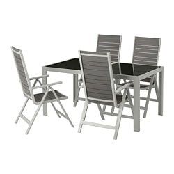 SJÄLLAND table+4 reclining chairs, outdoor, glass grey, light grey