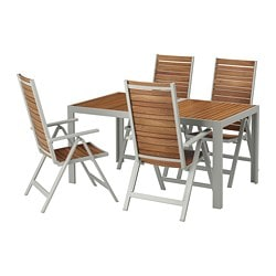 SJÄLLAND table + 4 reclining chairs, outdoor, light brown, light gray