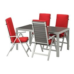 SJÄLLAND table + 4 reclining chairs, outdoor, dark gray, Frösön/Duvholmen red