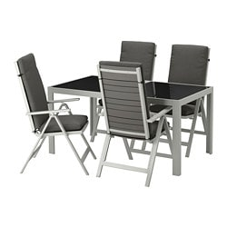 SJÄLLAND table + 4 reclining chairs, outdoor, glass, Frösön/Duvholmen dark gray