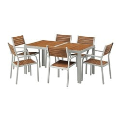 SJÄLLAND table+6 armchairs, outdoor, light brown, light gray