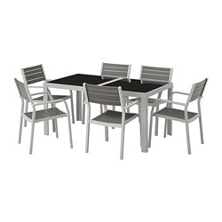 SJÄLLAND table+6 armchairs, outdoor, glass gray, light gray