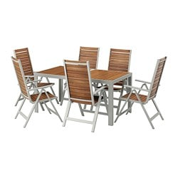 SJÄLLAND table + 6 reclining chairs, outdoor, light brown, light gray