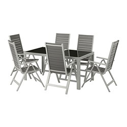 SJÄLLAND table+6 reclining chairs, outdoor, glass grey, light grey